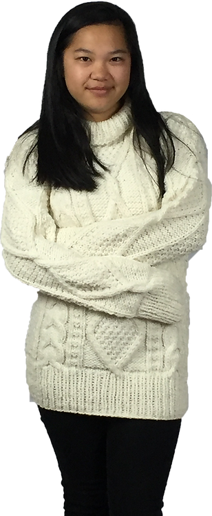 Aran cream sweater traditional crew neck
