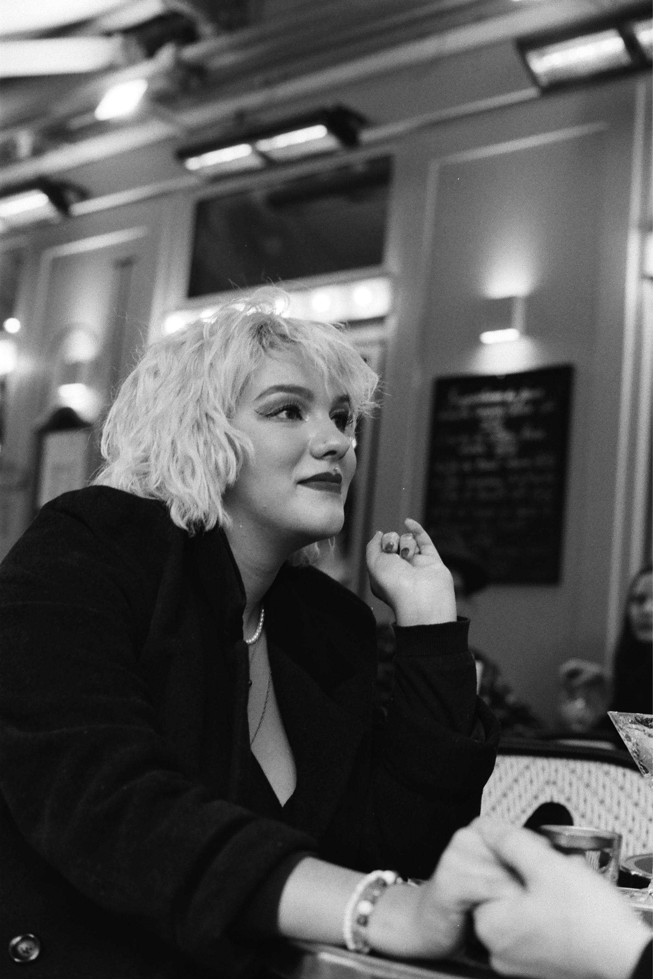 Blonde in a cafe