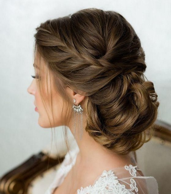 french braid low side bun hairstyle brides bridesmaids wedding