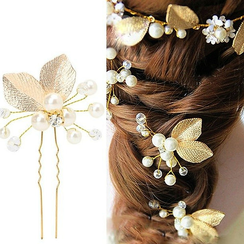 Pixie Vine Leaf Pearl Hair Pins (Set of 3)