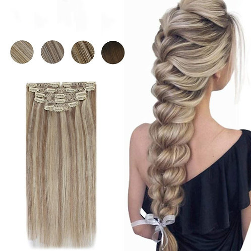 "22"" 7 Piece Clip In 100% Real Human Hair Extensions"