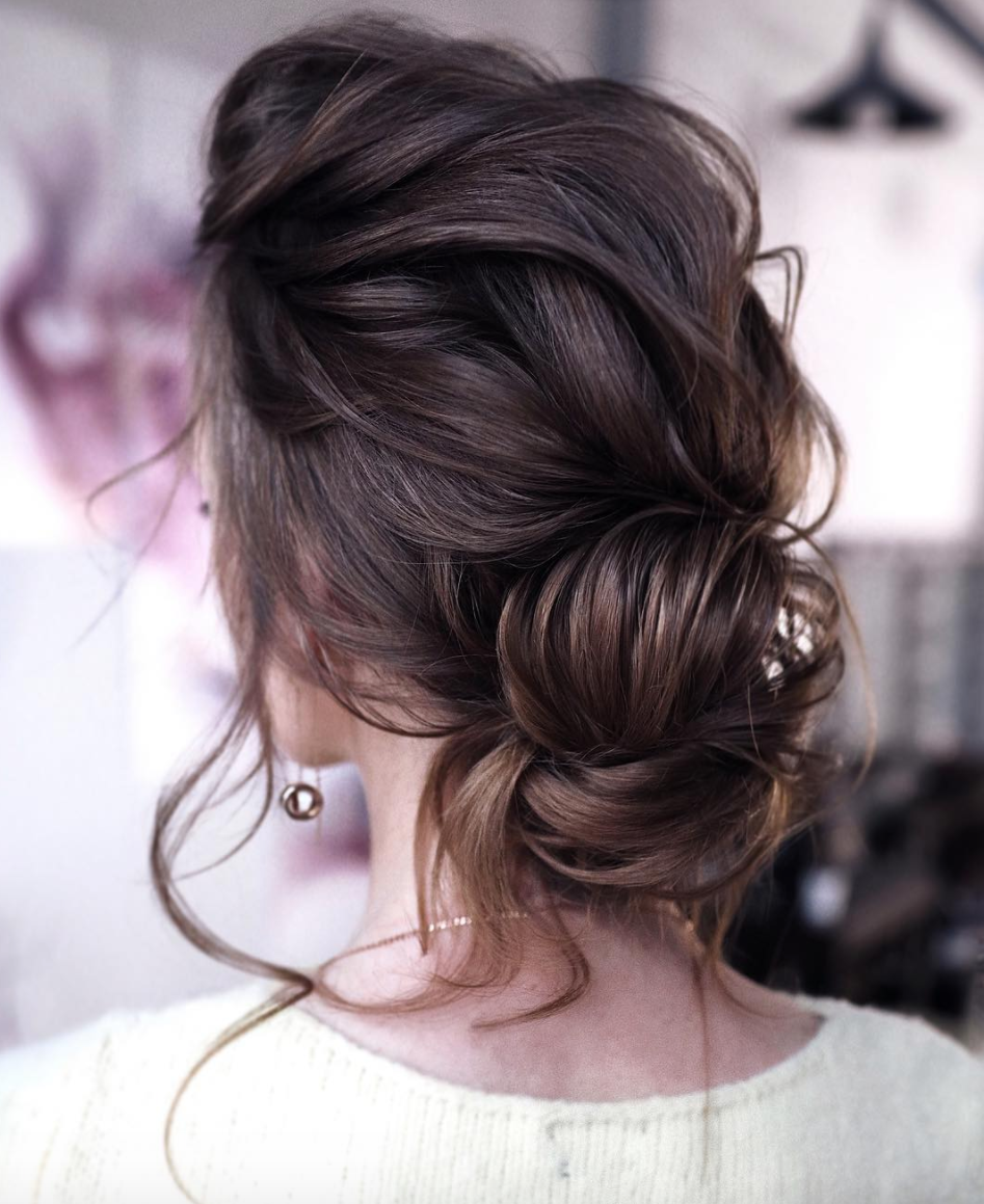 Boho Chic hairstyle low bridal bun