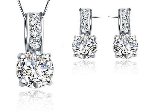 Leticia 925 Sterling Silver CZ Bridal Jewellery Set