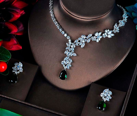Gabriella Green Cubic Zirconia  Wedding Jewellery Set