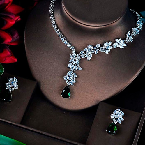 Gabriella Green Cubic Zirconia  Wedding Jewellery Set