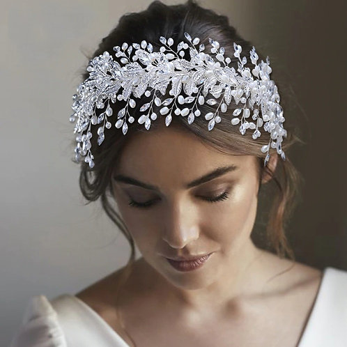 Saba Crystal Bridal Crown Hair Vine Headpiece
