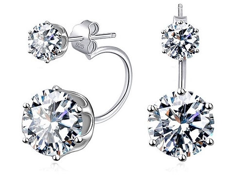 Emily 925 Sterling Silver CZ  Bridal Earrings