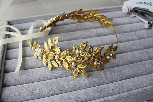 Gina Gold Leaves Wedding Vintage Hair Pearl Headpiece