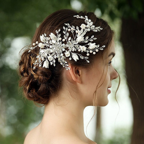Olivia Luxury Floral Pearl & Crystal Hairpiece