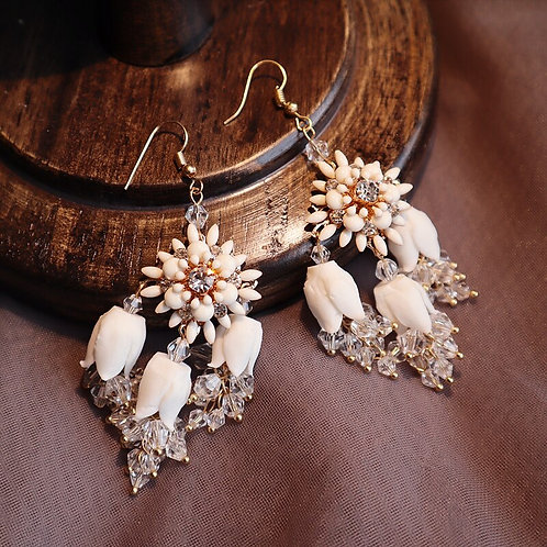 Amelia Handmade White Floral Bridal Drop Earrings