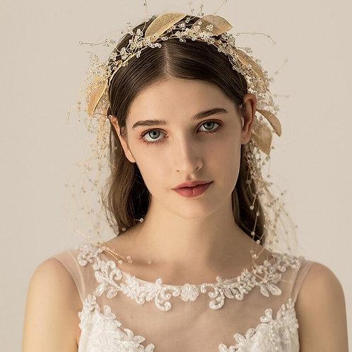 Josephine Gold Leaf Bridal Crown Headpiece