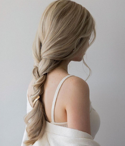 simple long plait plain hairstyle for party and weddings