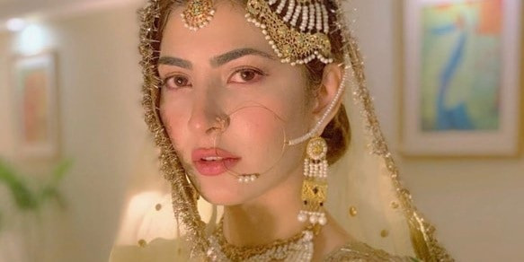 naimal khawar wife hamza ali abbasi bridal natural wedding day makeup look
