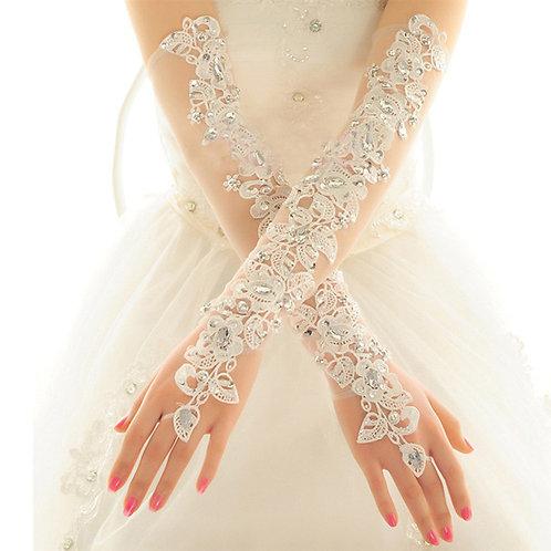 Bridal Ivory Fingerless Sheer Beaded Gloves