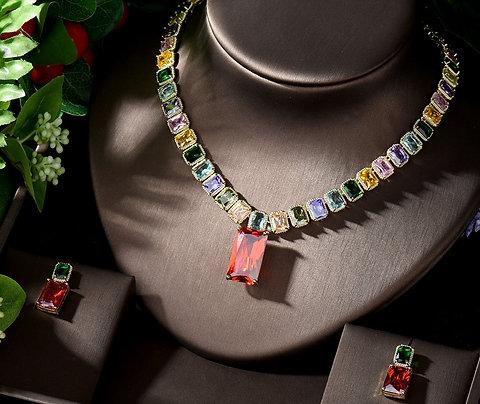 Hazel Multicolour Cubic Zirconia Bridal Jewellery Set