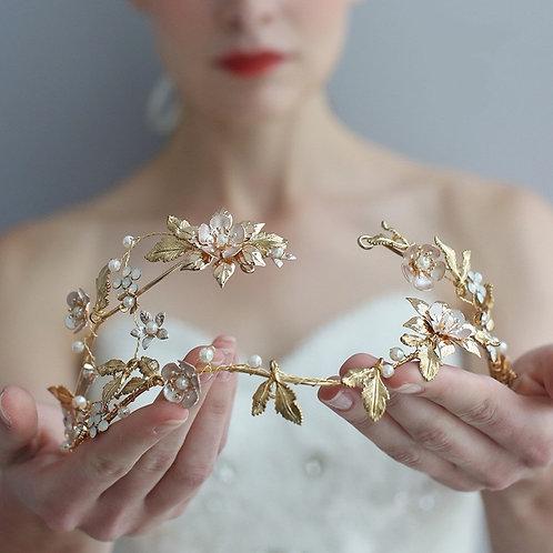 Linzi Gold Leaf Floral Wedding Crown Headpiece