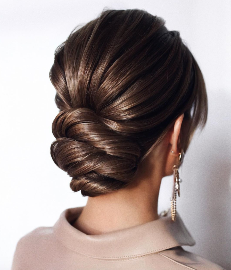 chignon bun for brides and bridal party short medium hair