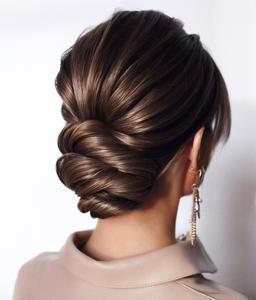 chignon bun for brides and bridal party short medium hair
