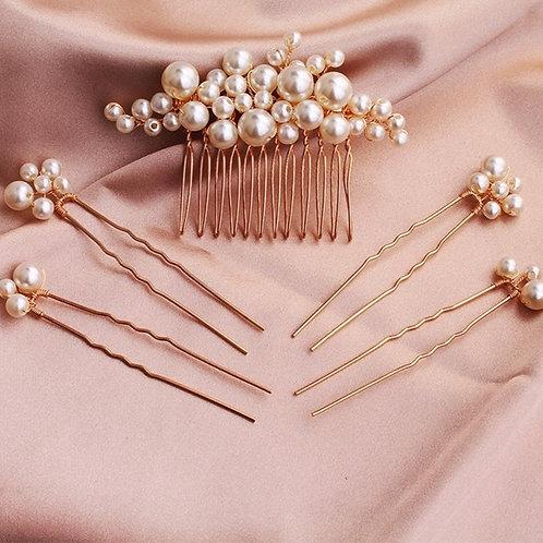 Isla Gold Pearl Wedding Hair Pins (Set of 5)