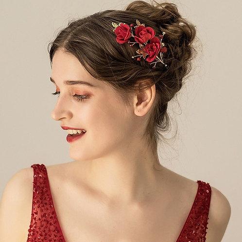 Sabrina Red Flower Wedding Headpiece