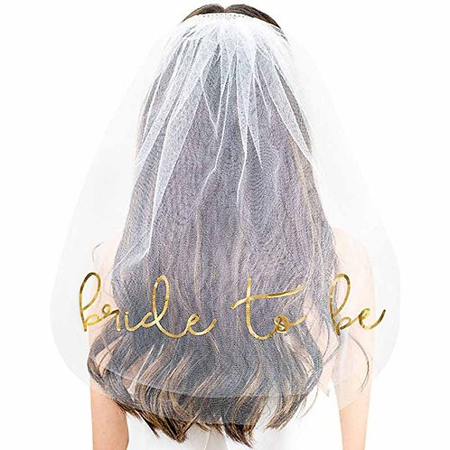 Bride to be Veil Gold
