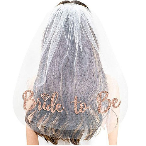 Bride to Be Veil Rosegold