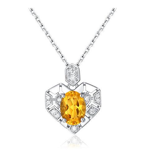 Celine Sterling Silver Heart Bridal Necklace