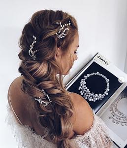 messy plait braids long hair style bridal mehndi sangeet party