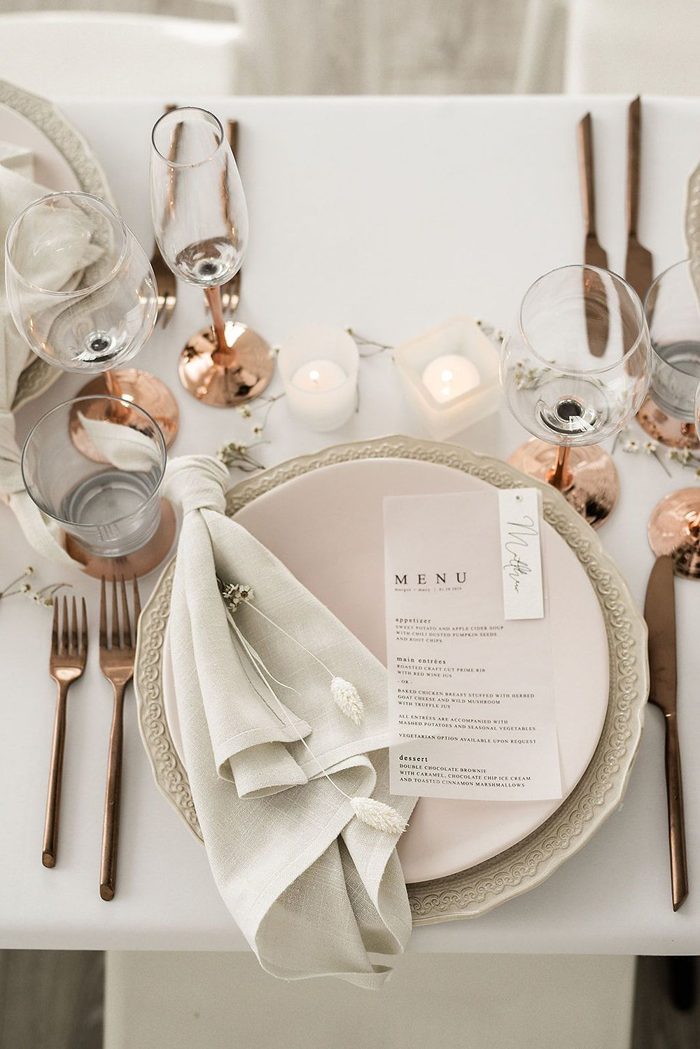 Small weddings Intimate wedding plated meal ideas