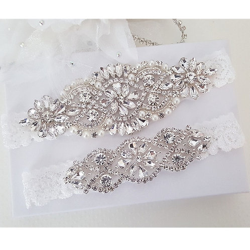 Fantasy White Bridal Garter with Rhinestones