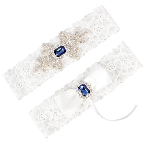 Anastasia White Bridal Garter with Blue Crystals