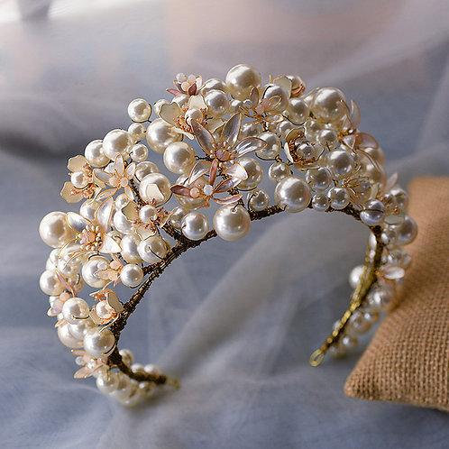 Miriam Classic Pearl Crown Tiara Headpiece