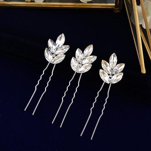 Zoe Sparkling Crystal Wedding Hair pins (Set of 3)