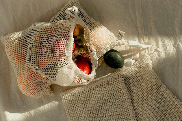 Ecobolsas malla de algodón (pack 7 pzas.)