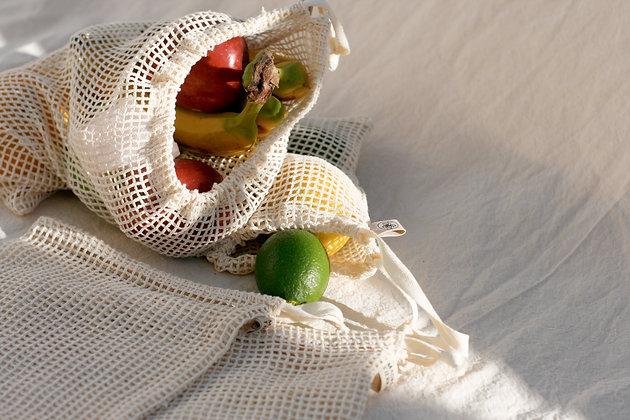 Ecobolsas malla de algodón (pack 5 pzas.)