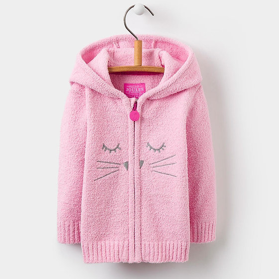 Joules Baby Miskin Pink Cat Chenielle Zip Through Jumper