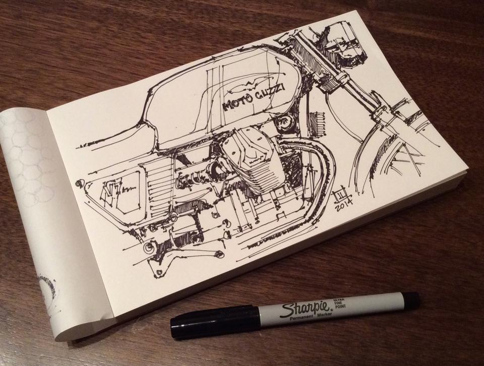 Moto Guzzi V7 Sketch