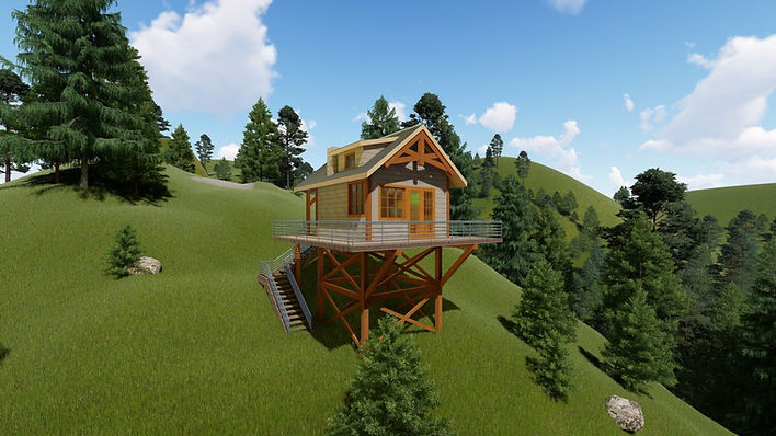 mountain back country timber frame cabin