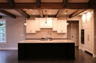 Interior kitchen timber frame box beams