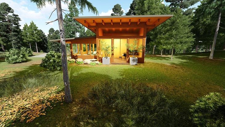 Timber frame mountain wood land cottage