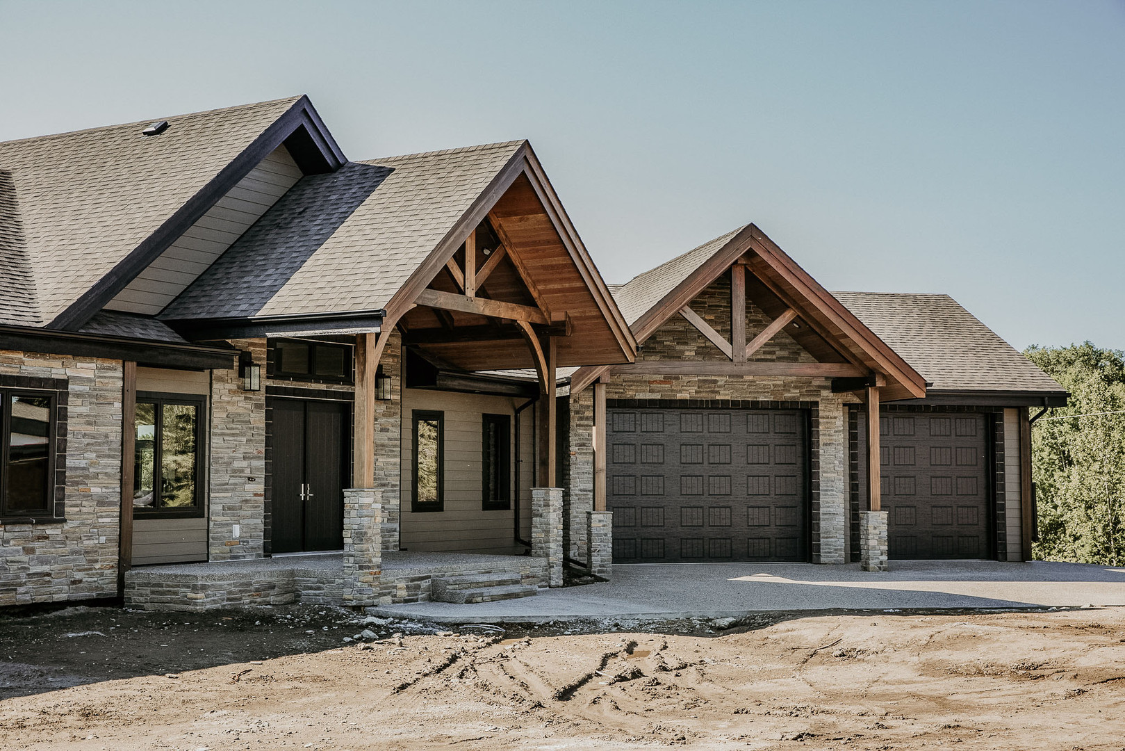 house front timber frame accents
