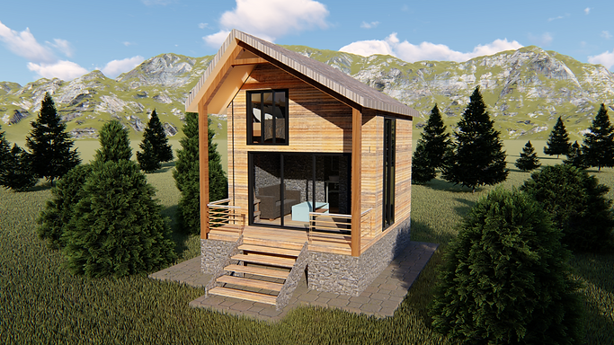 mountain imber frame back country cabin with attic