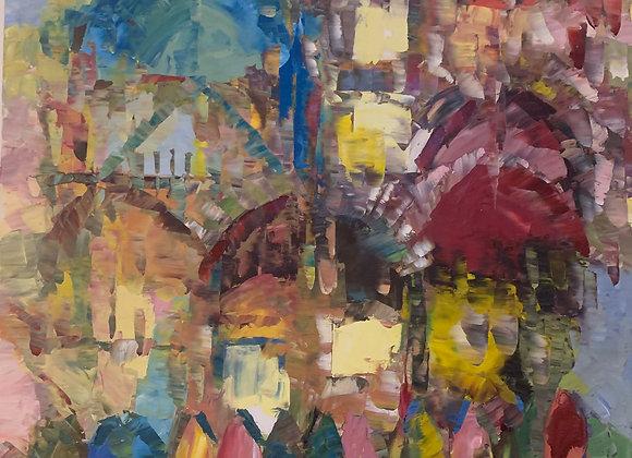 Jerusalem Walls - Oil on Canvas