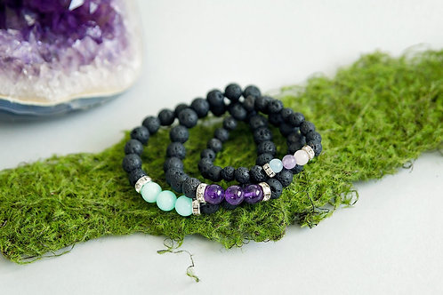 Essential Oil Diffuser Bracelet with Crystals
