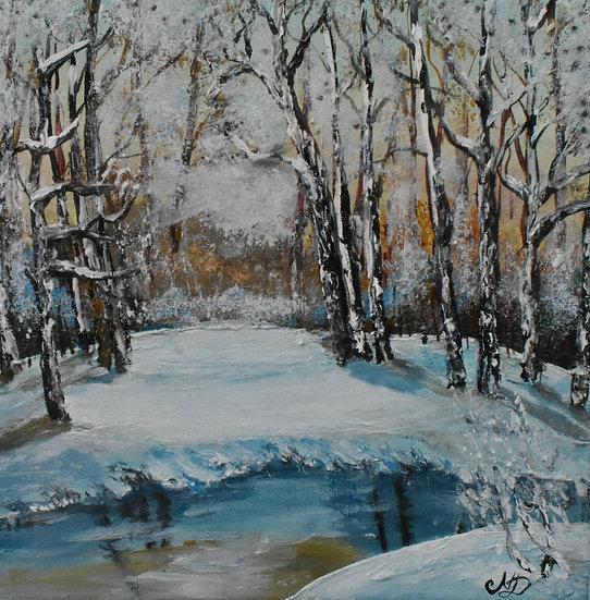 """Original hand painted art - """"White Winter"""""""