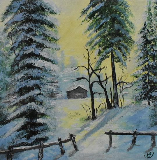 "Original hand painted artwork - ""Winter forest"""