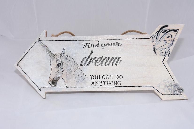 Find your dream (Unicorn Door Plaque)