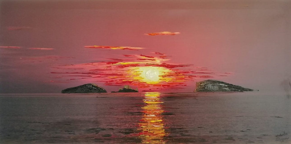 Romantic Ibiza Sunset Print with hand painted finish (limited edition)