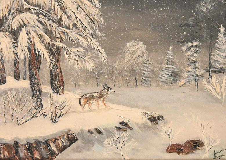 "Original Print Artwork - ""Wolf in winter snow"""