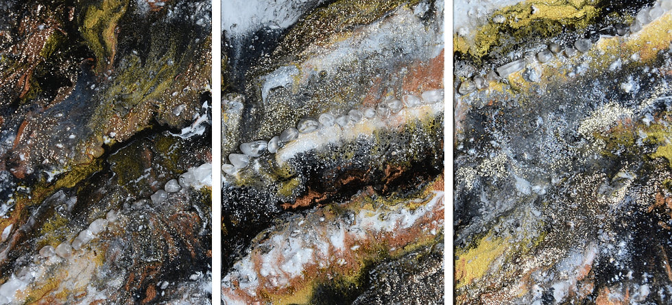 """Set of 3 - Geode feature """"Cosmic interaction"""""""
